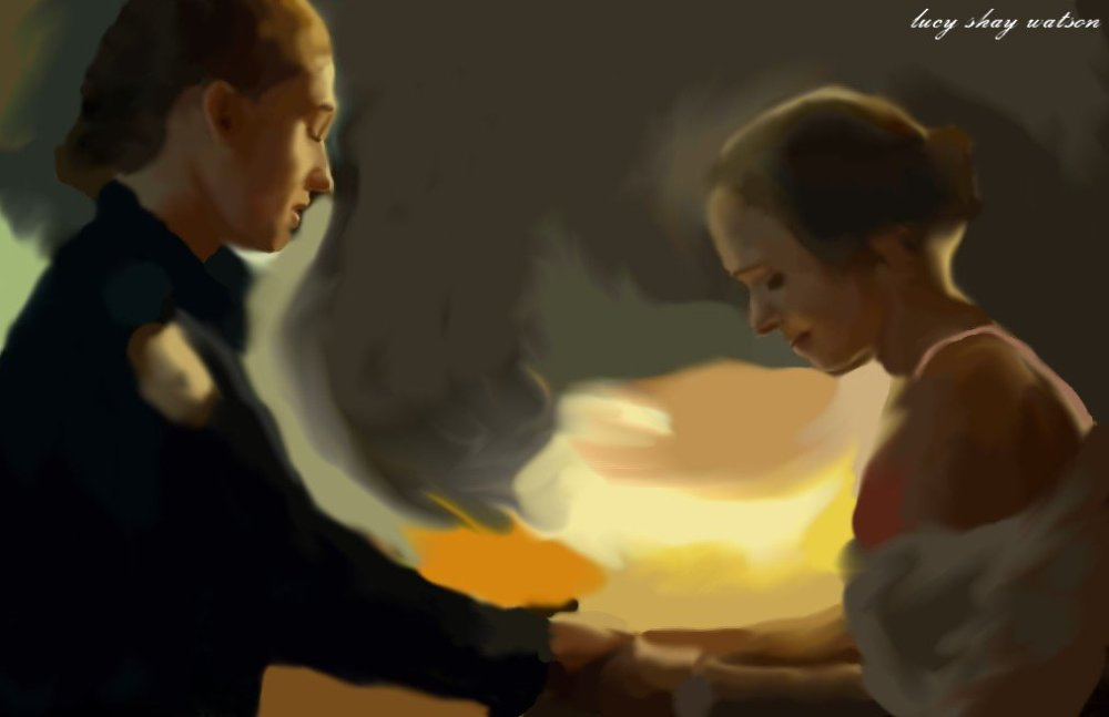 Painting of Officer Haught & Waverly from Wynonna Earp by Lucy Shay Watson