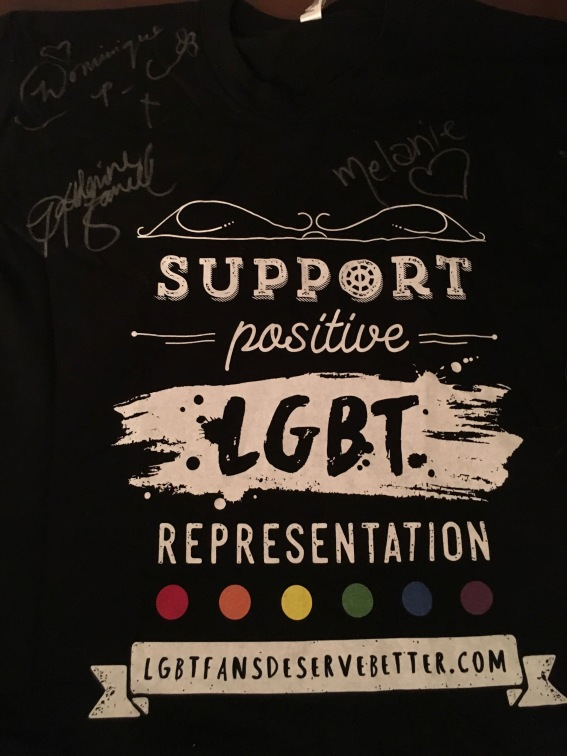 Autographed T-shirt by Melanie Scrofano, Dominique Provost-Chalkley and Katherine Barrell